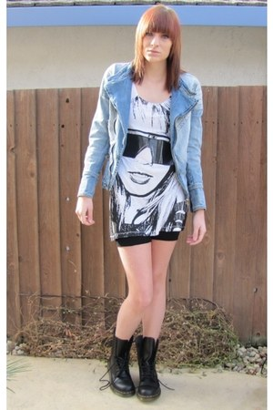 white H&M top - sky blue vintage jacket - black DIY shorts - black doc martens b
