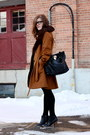 Black-joe-fresh-boots-black-h-m-dress-light-brown-vera-moda-coat