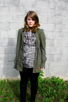 green sws outerwear jacket - gray French Connection blouse - black Dalia pants -