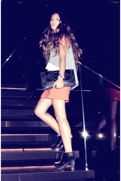 black H&M bag - heather gray DIY top - carrot orange Zara skirt