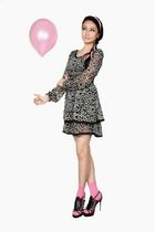 black Paperbag Vintage dress - pink random brand socks - black multi-buckled sho