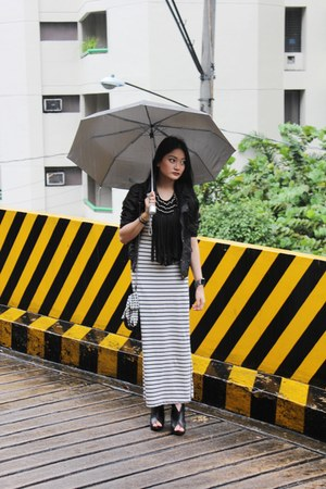 heather gray maxi random dress - black biker From HK jacket - black with chain P