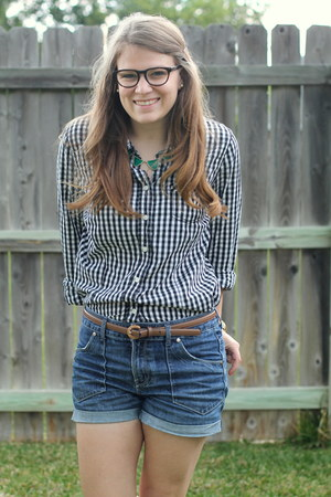 black gingham Old Navy blouse - blue denim Express shorts