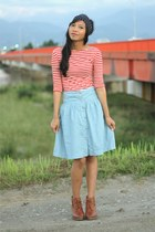 modcloth skirt - Uniqlo boots - Urban Outfitters shirt - Crossover scarf