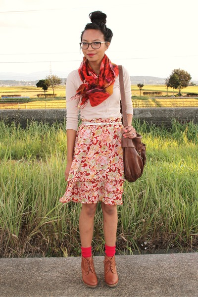 red JCrew scarf - tawny Uniqlo boots - beige Nordstrom sweater