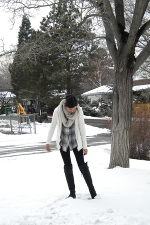 black DKNY boots - white Jcrew jacket - black from marshalls leggings - beige Et
