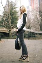 gold platforms Alice & Olivia heels - pattern rag & bone jeans