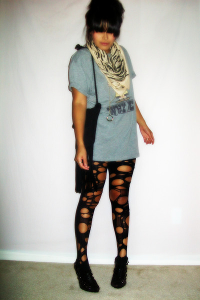 black ripped tights - black slingback Urban Outfitters shoes