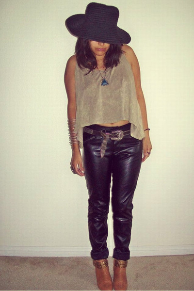 Forever 21 top - Jeffrey Campbell boots - vintage belt - asos pants
