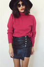Knitsweaterpink-sweater-skortsleather-skirt