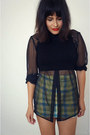 Plaid-skirt-vintage-skirt-crop-top-asos-top