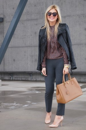 Zara shirt - Zara shoes - danier jacket - Prada purse - Karen Walker sunglasses