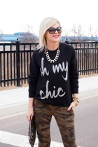 ily couture sweater - H&M bag - Ray Ban sunglasses - ily couture necklace
