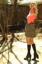 black oxford booties Urban Outfitters boots - salmon spandex thrifted top - ligh