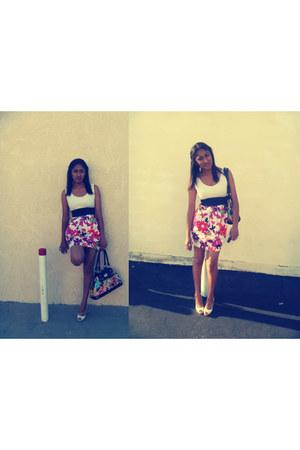 ALYN PAIGE dress - coach bag - off white Jessica Simpson heels - camel floral Ju