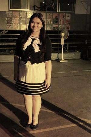 ivory Mango dress - black ribbon H&M cardigan - blue wedges