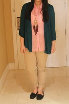 black loafers - beige Uniqlo pants - bubble gum sheer Jellybean blouse