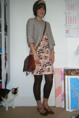 orange H&M dress - beige Sainsburys cardigan - brown H&M tights - brown Market a