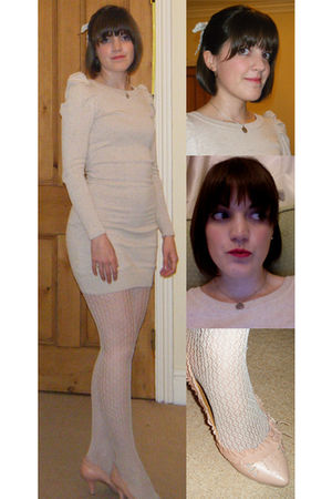 beige H&M dress - beige H&M tights - beige Chie Mihara shoes - beige DIY accesso