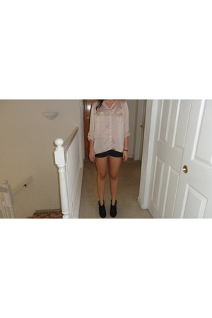 light pink Love Culture blouse - black Steve Madden boots - black H&M shorts