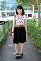 pink Forever21 top - black Luela skirt - black Jeffrey Campbell shoes