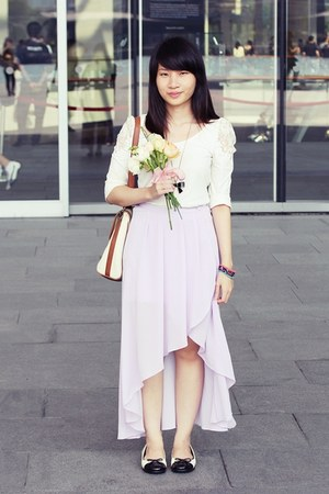 periwinkle skirt - white top - ivory flats