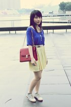 neutral shoes - ruby red bag - light yellow Zara skirt - blue Forever 21 top