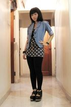 blue thrifted jacket - gray new look top - black cotton on leggings - black Jeff