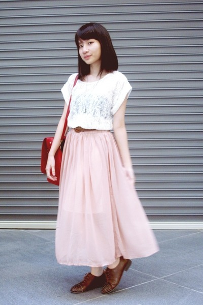 brown oxford MODPARADE shoes - ruby red bag - light pink skirt - ivory ...