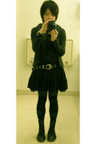 black japan socks - black J3 dress - gray linn jacket - green shirt