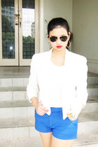 white blazer Topshop jacket - aviators Ray Ban sunglasses