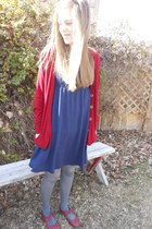 ruby red thrited cardigan - maroon Forver Young shoes - navy thrifted dress