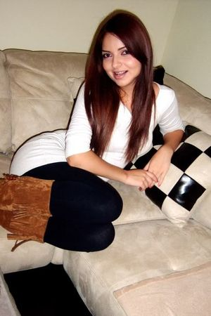 white Forever21 blouse - black H&M leggings - brown Aeropostale boots - black ac