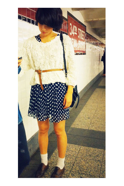 American Apparel sweater - second hand dress - D&G belt - Zara shoes