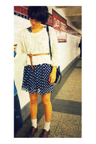 American Apparel sweater - second hand dress - D&G belt - Zara shoes