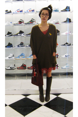 from Korea sweater - Bottega Veneta boots - H&amp;M dress - Prada purse