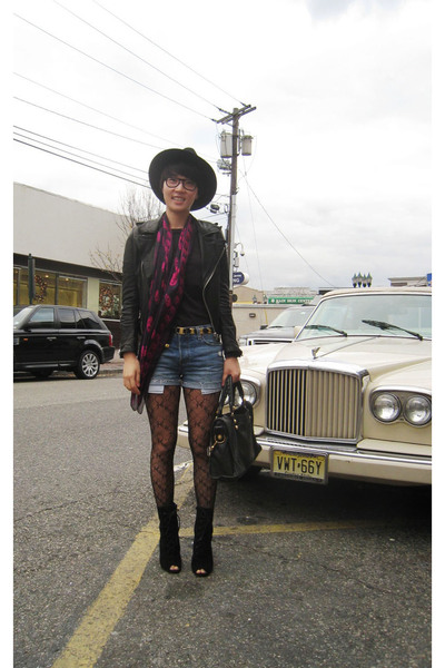 vintage jacket - vintage hat - McQ scarf - Levis shorts - ferragamo belt - Urban
