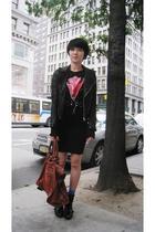 vintage jacket - vintage t-shirt - H&M skirt - Forever 21 socks