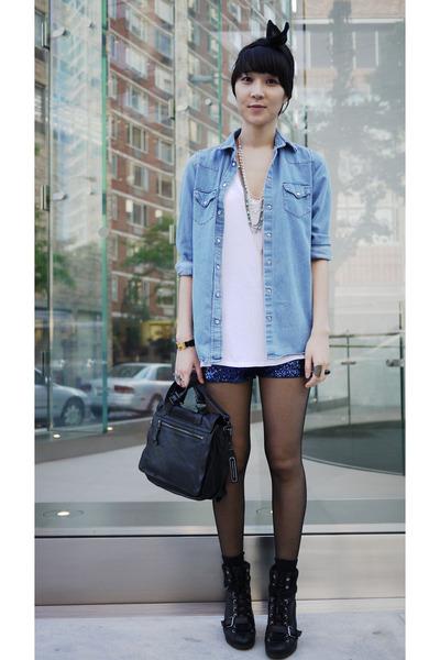 Topshop shirt - American Apparel t-shirt - H&M shorts - American Apparel accesso