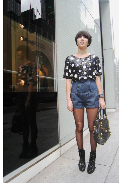 Topshop top - vintage shorts - Nine West shoes - balenciaga