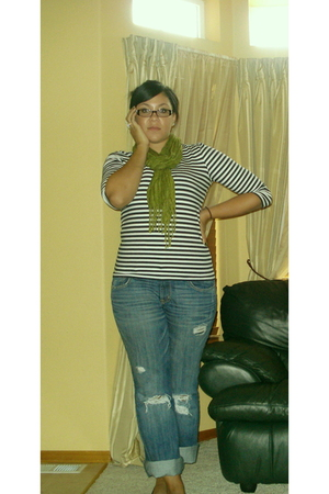 shirt - H&M scarf - ae jeans - payless shoes
