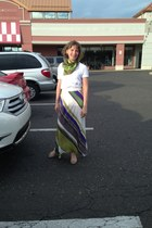 white H&M t-shirt - olive green echo scarf - deep purple Anthropologie skirt