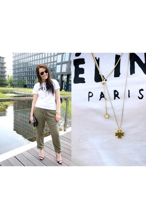 olive green new look pants - white Celine t-shirt - black Zara heels