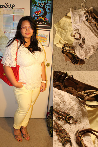 light yellow distressed jeans - red bag - cream top - bronze braided rope wedges