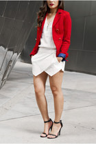red blazer H&M jacket - white zipper shirt H&M shirt