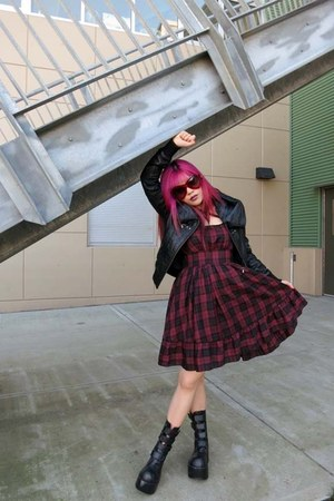 plaid miho matsuda dress - kera arena boots - leather danier jacket