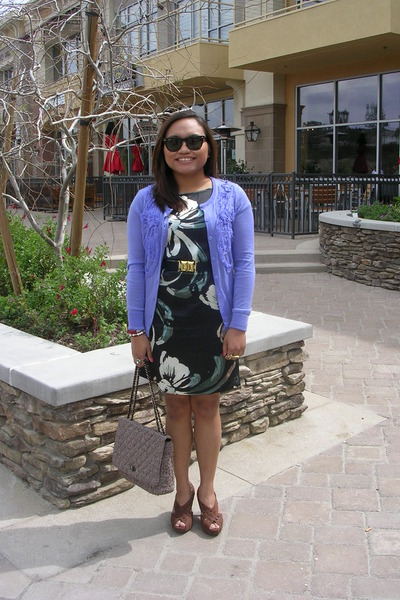 purple Forever 21 cardigan - blue Lauren Conrad for Kohls dress - brown
