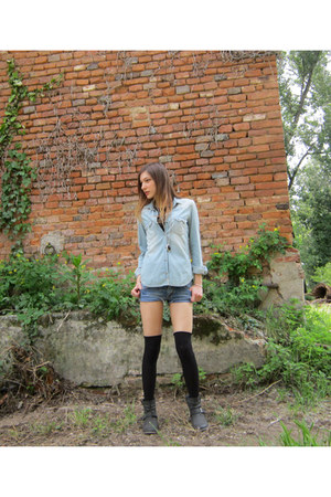 light blue Zara shirt - black H&M necklace - blue Boosley pants