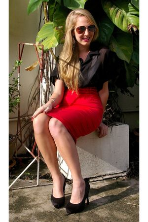 red Primark skirt - black Thai Market blouse - gold Thai Market sunglasses - bla