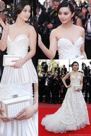white Elie Saab Couture dress - olive green Elie Saab dress - orange dress - whi